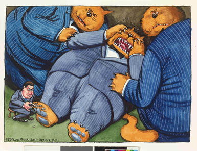 Bank Levy by Steven Bell; ink and watercolour drawing, UK, 2011; This fat cat is having its claws clipped by the chancellor of the exchequer, George Osborne, in reference to a planned increase in taxation on banks. Depicting bankers as fat cats in suits is a popular theme among satirists.
