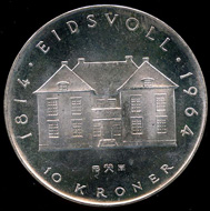 10-kroner coin 1964. Photo: www.skanfil.no.