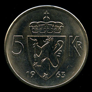 5-kroner coin 1963. Photo: www.skanfil.no.