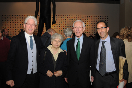 From left: James Snyder, director of the Israel Museum, Jerusalem; Prof. Alla Kushnir-Stein, recipient of the Meshorer Prize; Prof. Stanley Fischer, governor of the Bank of Israel; Dr. Haim Gitler, Curator of Numismatics, Israel Museum and president of the Israel Numismatic Society.