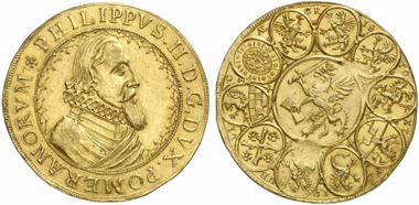 Lot 1074: POMERANIA. Philip II (1606-1618). 6 ducats n. y., Stettin. Hildisch 26. Second known specimen. Extremely fine. From Pogge Collection, L. & L. Hamburger 36, (1903), lot 922. Estimate: 25,000 euros. Hammer price: 50,000 euros.