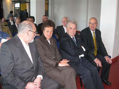 Opening Ceremony 15th World Olympic Collectors' Fair Cologne Germany (l. to r.): Manfred Wolf (Mayor of Cologne), Dr. Agnes Klein (Deputy Mayor of Cologne Department for education, youth and sports), IOC honorary member Prof. Walther Tröger and David Maiden (coordinator IOC collectors? commission).