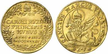 Venice. Gold osella 1734. From Künker auction 221 (2012), estimated at: 2,000 euros, hammer price: 3,000 euros.