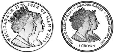 Coin on Diamond Jubilee of Queen Elizabeth II and Queen