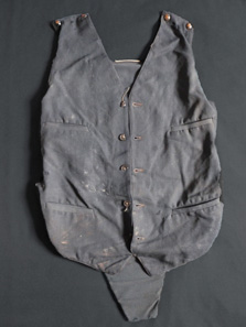 Clyde BP Vest (Bullet-Proof). This bullet-proof vest - never exhibited before in Britain - was found in the car in which Bonnie and Clyde were gunned down in 1934. The vest is punctured with bullet holes.