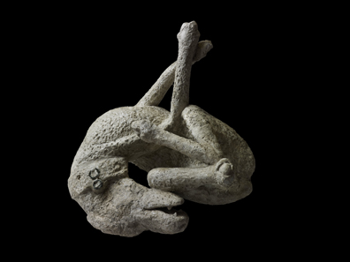 Plaster cast of a dog. From the House of Orpheus, Pompeii, AD 79. Copyright Soprintendenza Speciale per i Beni Archeologici di Napoli e Pompei / Trustees of the British Museum.