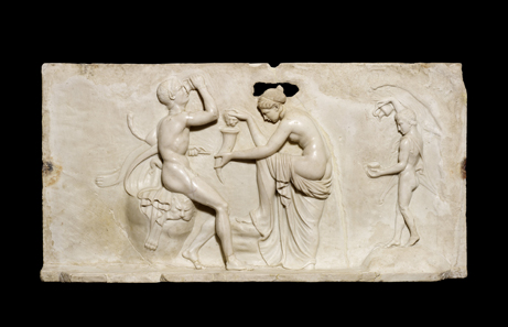 Satyr and maenads, marble wall panel, From the House of the Dionysiac Reliefs, Herculaneum, 1st century AD. Copyright Soprintendenza Speciale per i Beni Archeologici di Napoli e Pompei / Trustees of the British Museum.
