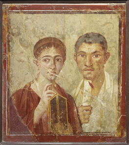 Wall painting of the baker Terentius Neo and his wife. From the House of Terentius Neo, Pompeii. AD 50 to 79. Copyright Soprintendenza Speciale per i Beni Archeologici di Napoli e Pompei / Trustees of the British Museum.