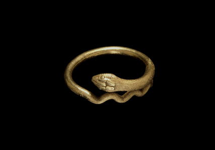 Gold bracelet in the form of a coiled snake, 1st Century AD, Roman, Pompeii. Copyright the Trustees of the British Museum.