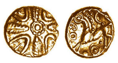 Hayling Wreath gold quarter stater, c.50-30 BC, ABC 815. The only other known example is plated.