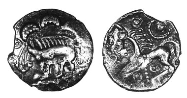 Danebury Spear silver unit, c.50-30 BC, ABC 869. Only three others known.