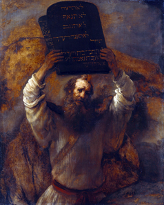 Moses with the Ten Commandments by Rembrandt (1606-1669), 1659. Source. Wikipedia.