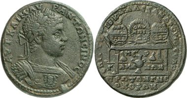 Pergamum. Elagabalus, 218-222. Rev. prize table with prize crowns. Gorny & Mosch 195 (2011), 332.