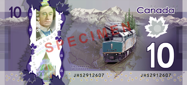 The new $10 polymer banknote. © Bank of Canada.
