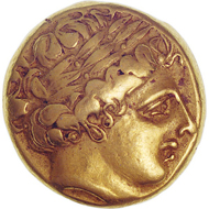 Tribe of the Helvetii. Gold stater in the style of the stampings of Philip. Between 300 and 100 BC. © MoneyMuseum.