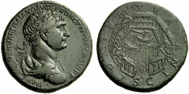 304: Trajan, 98-117. Sestertius, c. 112-114. Rv. port of Ostia. RIC - (cf. 632). Extremely fine / very fine. Starting price: 3,000 euros. Hammer price: 9,500 euros.