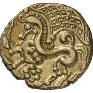 Parisii (Celtic tribe in France, in the region of present-day Paris). Gold stater, End of the 2nd century BC. © MoneyMuseum, Zurich.
