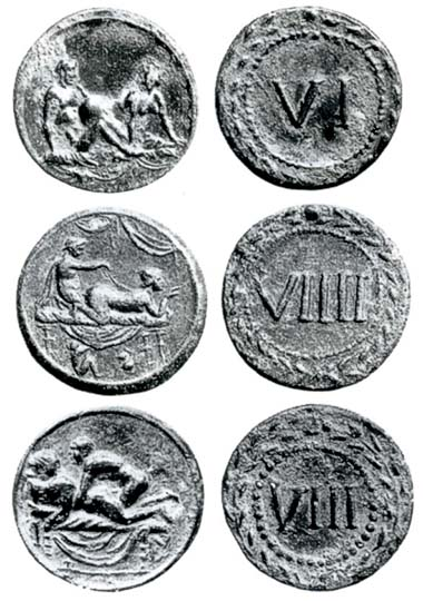 Spintriae are highly popular and expensive collectibles, but what purpose did they actually serve in Antiquity? All three examples come from auction sale MMAG 77 (1992), 144-146.