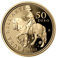 Italy / 50 euros / .900 gold / 16.129g / 28 mm. Mintage: 1,500.