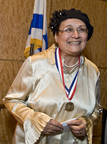 Ms. Sharansky wearing the medal, courtesy of the American Jewish Historical Society, photo Melanie Einzig.
